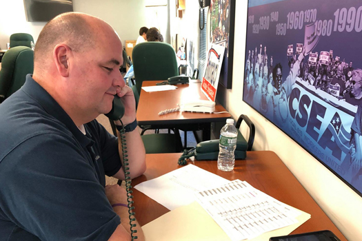 Photo of: Local 834 President, Dan Vadala, manning the phone bank for the mid-term elections.
