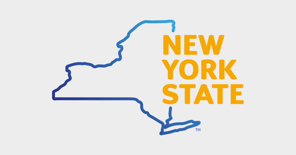 New York State outlined in blue with yellow letters saying New York State